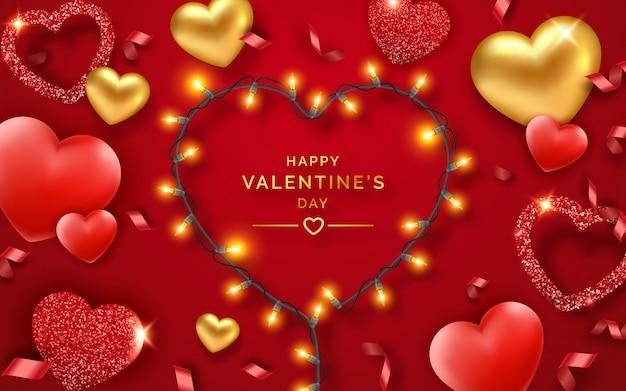 Dia dos namorados com corações vermelhos e dourados, fitas, luzes e texto. ilustração de cartão de férias em vermelho. corações brilhantes com textura de glitter