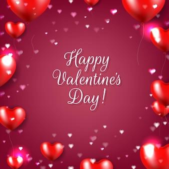 Dia dos namorados com corações vermelhos Vetor Premium
