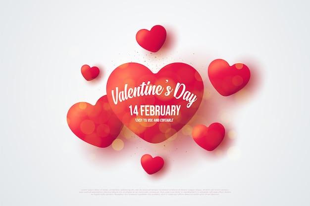 Dia dos namorados com corações vermelhos