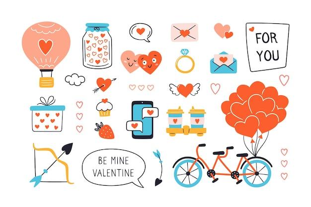 Dia dos namorados com elementos desenhados à mão. ilustração no fundo branco.