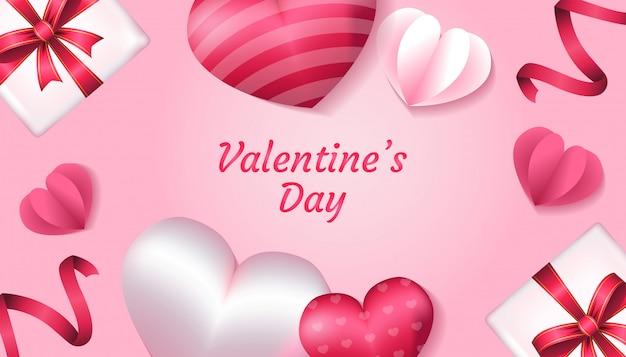 Dia dos namorados com forma de coração 3d, amor de papel, fita e caixa de presente na cor rosa e branca, aplicável para convite, saudação, ilustração de cartão de celebração
