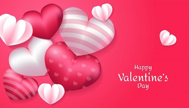 Dia dos namorados com forma de coração 3d, amor de papel na cor rosa e branco, aplicável para convite, saudação, ilustração de cartão de celebração