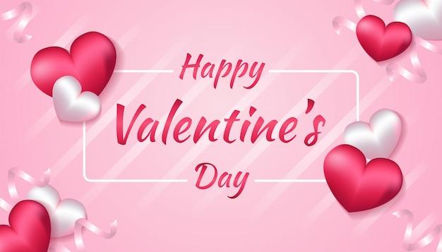 Dia dos namorados com forma de coração 3d e fita na cor rosa e branca, aplicável para convite, saudação, ilustração de cartão de celebração