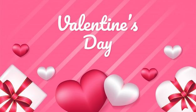Dia dos namorados com forma de coração 3d, fita e caixa de presente na cor rosa e branca, aplicável para convite, saudação, ilustração de cartão de celebração