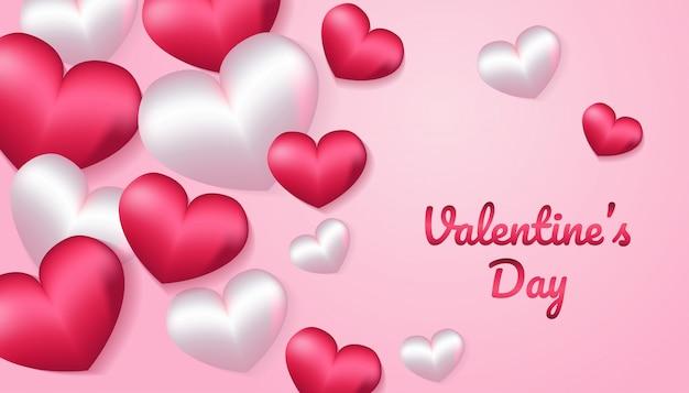 Dia dos namorados com forma de coração 3d na cor rosa e branco, aplicável para convite, saudação, ilustração de cartão de celebração