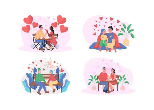 Dia dos namorados com ilustração de jantar romântico isolada