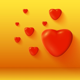 Dia dos namorados com ilustração em vetor romântico 3d com corações vermelhos brilhantes