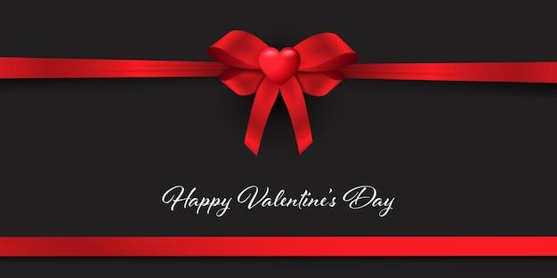 Dia dos namorados com laço de fita vermelha para presente com coração