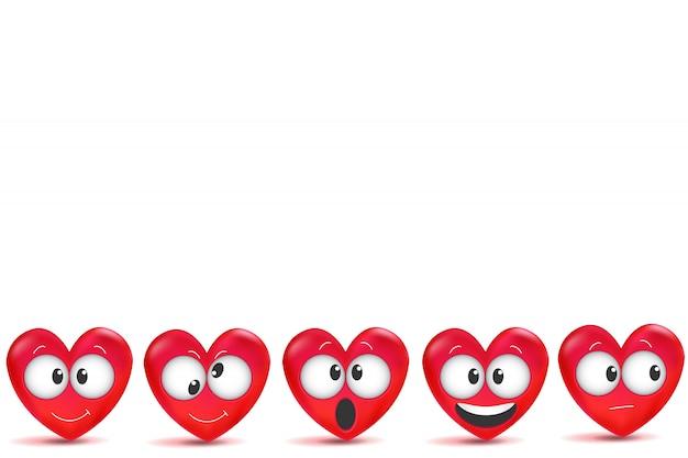 Dia dos namorados com letras feitas à mão e 3d corações vermelhos com pincelada.