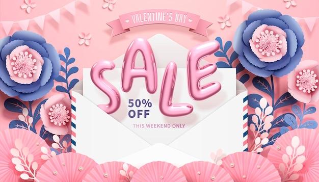 Dia dos namorados com palavras em balões de venda saltando de um envelope em estilo 3d, decorações de flores de papel