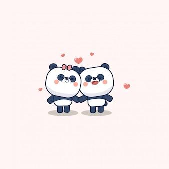 Dia dos namorados com panda fofo de coração mole, com te amo cartão de felicitações