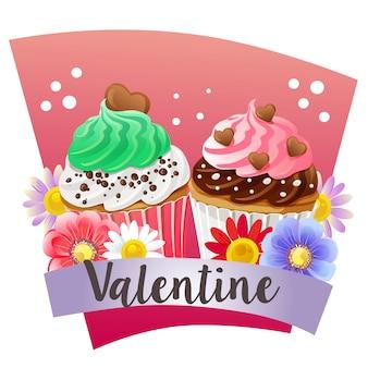 Dia dos namorados com tema cupcake colorido