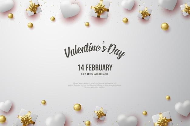 Dia dos namorados com uma ilustração de caixa de presente e balões macios.