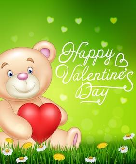 Dia dos namorados com urso dos desenhos animados segurando balões de coração vermelho na grama verde