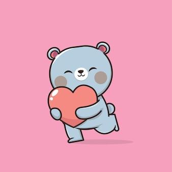 Dia dos namorados com urso fofo com coração mole