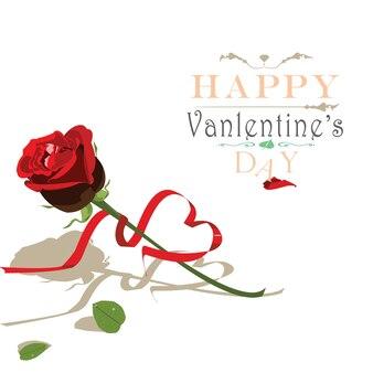 Dia dos namorados com vetor de rosa e fita vermelha