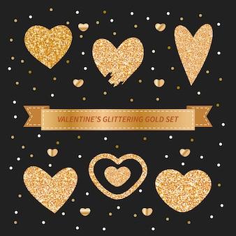 Dia dos namorados conjunto com corações de doodle glittery ouro
