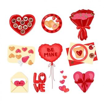 Dia dos namorados conjunto com doces, caixa de presente, flores e corações. coleção de desenhos animados de adesivos de amor