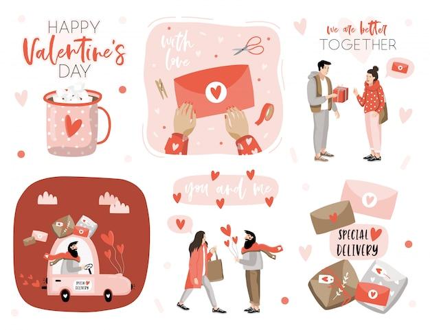 Dia dos namorados conjunto com elementos de amor.