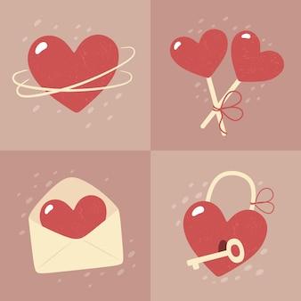 Dia dos namorados - conjunto de cartas em estilo simples.
