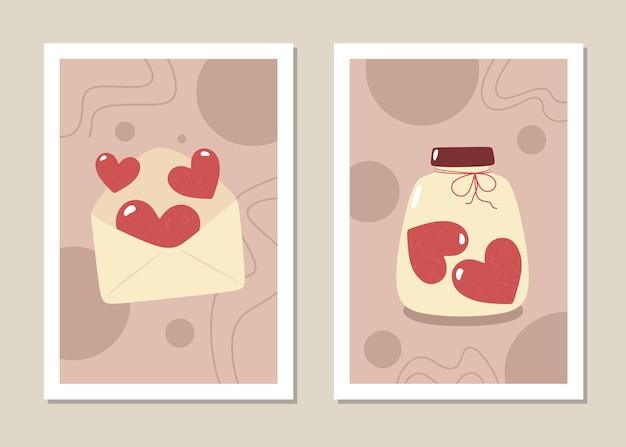 Dia dos namorados - conjunto de cartões de arte em estilo simples.