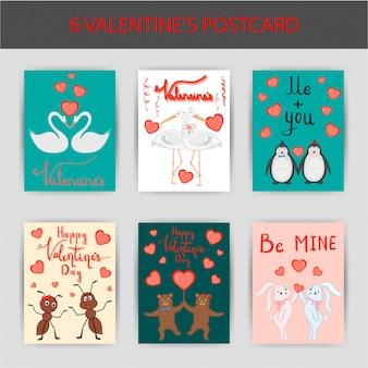 Dia dos namorados conjunto de cartões postais. estilo de desenho animado. ilustração vetorial.