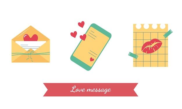 Dia dos namorados conjunto de ícones simples para uma mensagem de amor em um envelope