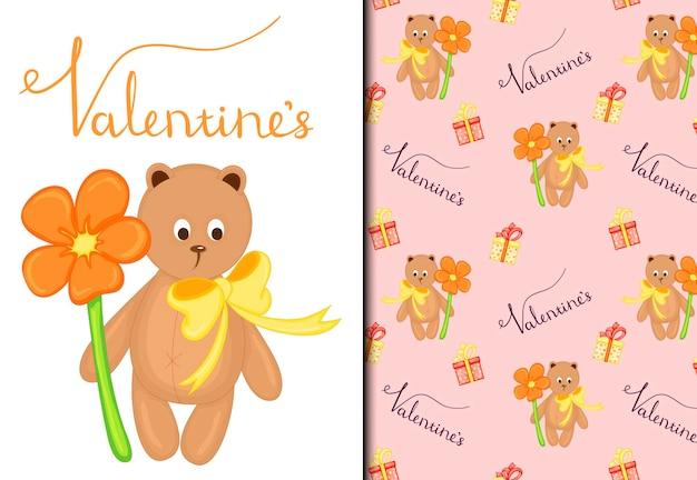 Dia dos namorados conjunto de padrão e cartão postal com um fofo ursinho de pelúcia. estilo de desenho animado. ilustração vetorial.