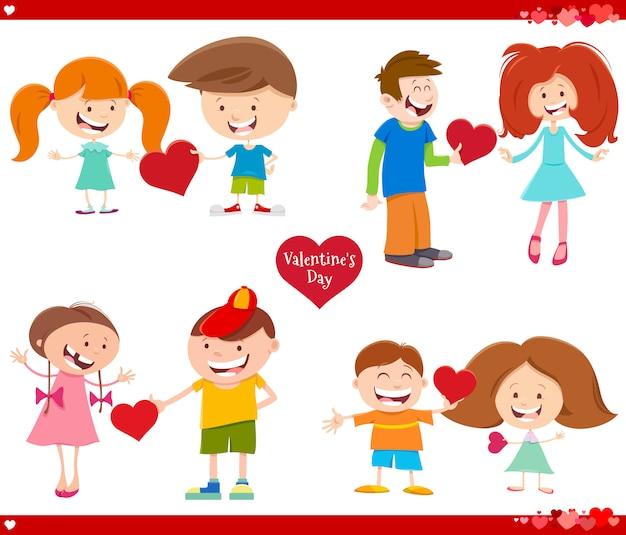 Dia dos namorados conjunto ilustração dos desenhos animados
