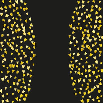 Dia dos namorados coração com brilhos de glitter dourados. 14 de fevereiro dia. confetes de vetor para modelo de coração de dia dos namorados. textura desenhada mão do grunge. tema de amor para convite de festa, oferta de varejo e anúncio.