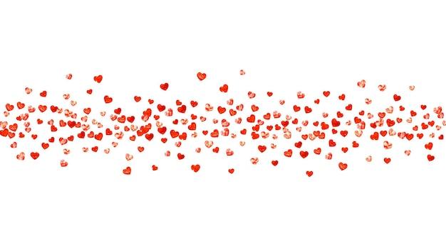 Dia dos namorados coração com brilhos de glitter vermelho. 14 de fevereiro dia. confetes de vetor para modelo de coração de dia dos namorados. textura desenhada mão do grunge. tema de amor para voucher, anúncio de negócios especiais, banner.