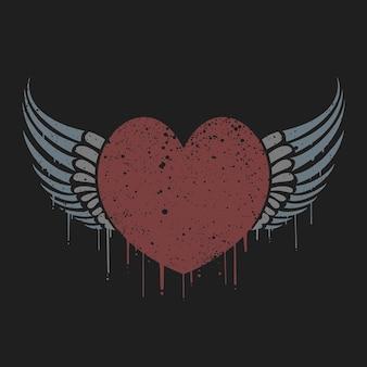 Dia dos namorados coração de amor alado com tshirt efeito grunge
