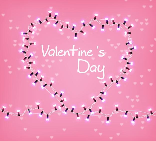 Dia dos namorados coração luzes brilhantes