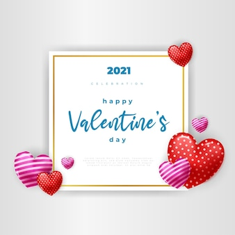 Dia dos namorados. corações 3d com moldura quadrada branca.