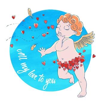 Dia dos namorados. cupid-boy em calças do coração e soprando beijos e corações no círculo de aquarela