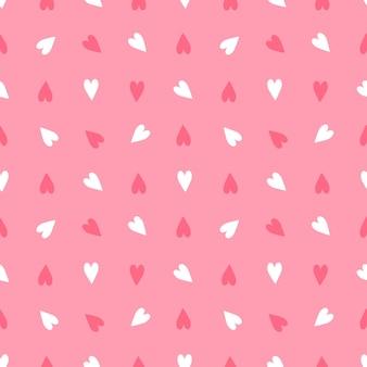 Dia dos namorados de decoração festiva de padrão sem emenda em fundo rosa com coração