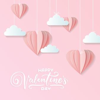Dia dos namorados de design de papel ofício, conter corações rosa e nuvens estão segurando por picada na parte superior