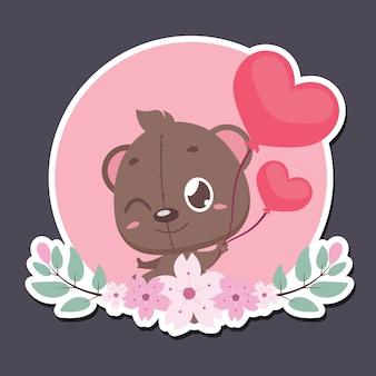 Dia dos namorados distintivo com fofo urso de pelúcia
