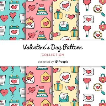 Dia dos namorados doodle coleção padrão