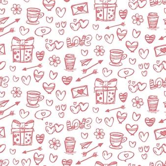 Dia dos namorados doodle desenho de fundo sem costura