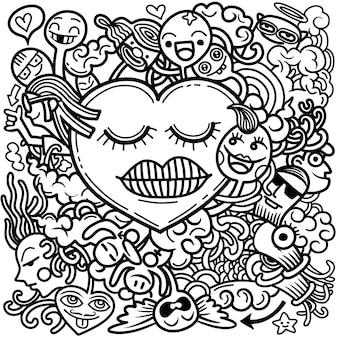 Dia dos namorados doodle mão desenhar amor
