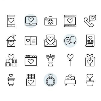 Dia dos namorados e amor ícone e símbolo definido no contorno