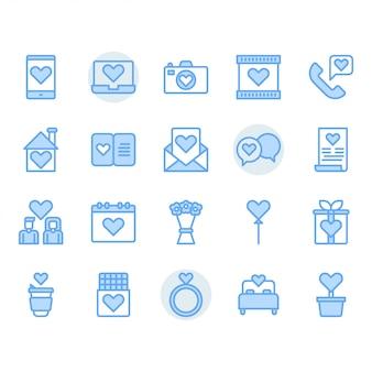 Dia dos namorados e conjunto de ícones de amor