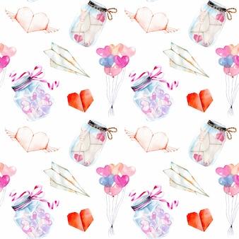 Dia dos namorados elementos aquáticos românticos padrão sem costura