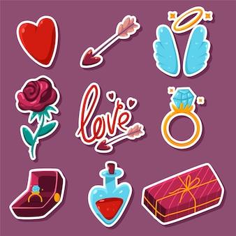 Dia dos namorados elementos desenhos animados adesivos conjunto isolado no fundo.