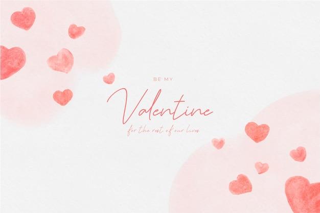Dia dos namorados em aquarela com corações
