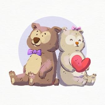 Dia dos namorados em aquarela com ursos apaixonados