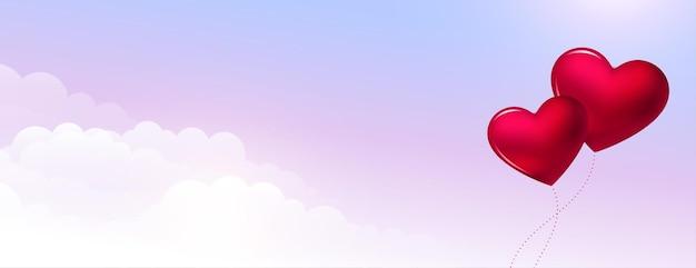 Dia dos namorados em balões no céu