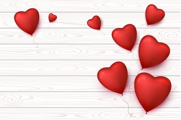 Dia dos namorados em branco banner de madeira com balões de coração isolado. fundo romântico.