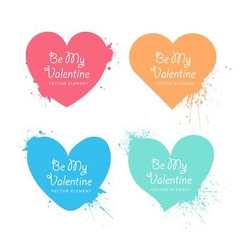 Dia dos namorados espirrado coleção de corações